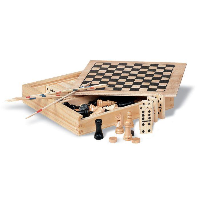 Barajas y juegos de mesa trikes 4 juegos en caja de madera de madera para personalizar imagen 1