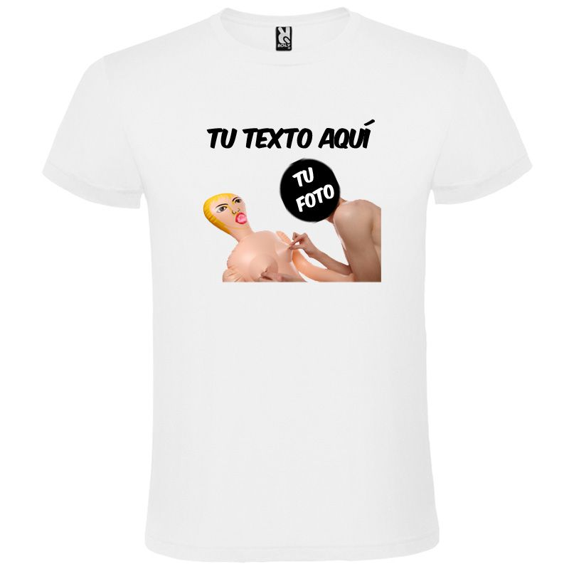 Camisetas despedida hombre blanca de manga corta con diseño de muñeca hinchable 100% algodón para personalizar vista 1