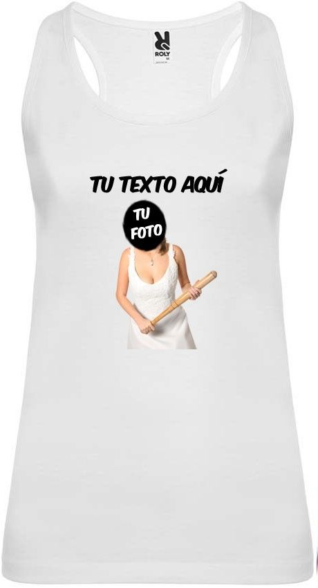 Camiseta blanca de tirantes para despedida de soltera con diseño novia con bate vista 1