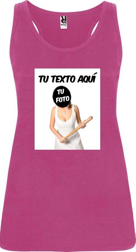 Camisetas despedida mujer de tirantes para despedida con diseño de novia con bate 100% algodón con logo vista 1