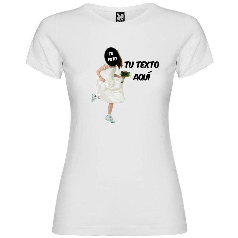 Camiseta blanca de despedida de soltera novia a la fuga con tu foto con logo vista 1