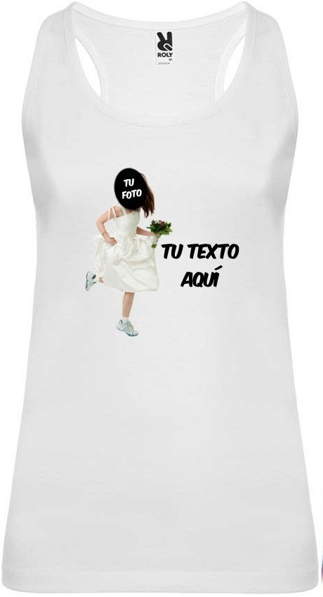 Camiseta blanca de tirantes para despedida de soltera con diseño novia corriendo vista 1