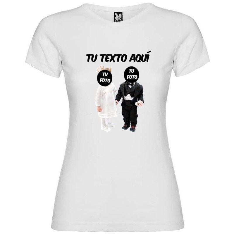 Camiseta blanca de despedidas para mujer modelo novios bebés con texto vista 1
