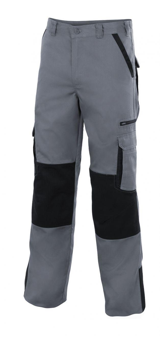 Pantalones de trabajo velilla bicolor multibolsillos plomo de algodon con logo vista 1