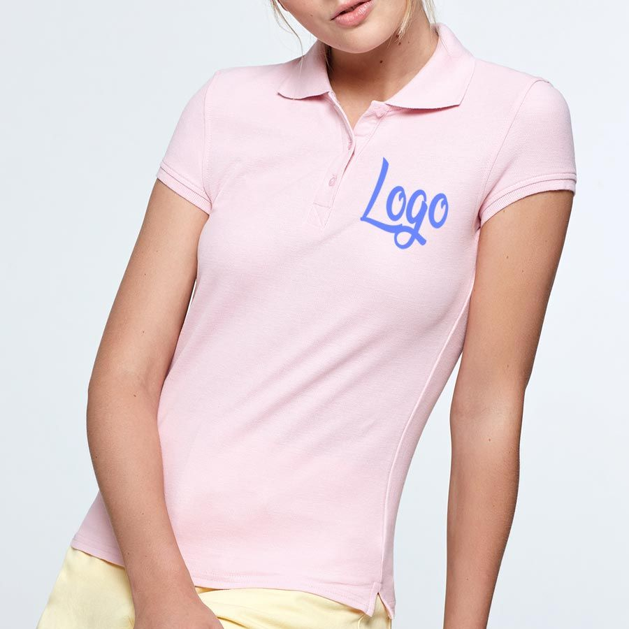 Polos manga corta roly star mujer de 100% algodón con publicidad vista 2
