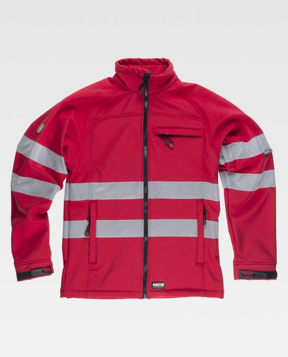 Chaquetas reflectantes workteam chaquetas workshell de algodon con impresión vista 1