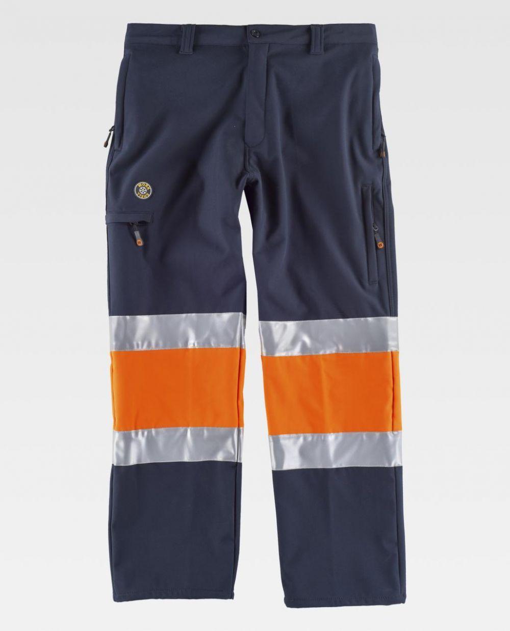 Pantalones reflectantes workteam combinado workshell alta visibilidad de algodon vista 1