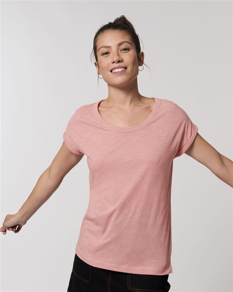 Camisetas manga corta stanley stella rounder slub ecológico con publicidad vista 1
