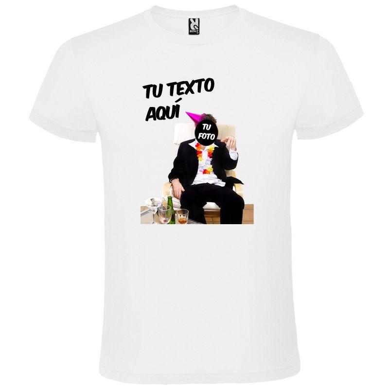 Camisetas despedida hombre blanca de fiesta con foto de borracho 100% algodón vista 1