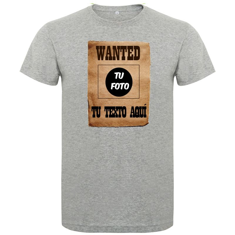 Camisetas despedida hombre de despedida estilo wanted con tu foto 100% algodón vista 1