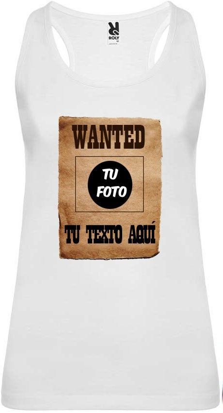 Camiseta blanca de tirantes para despedida de soltera con diseño wanted para personalizar vista 1