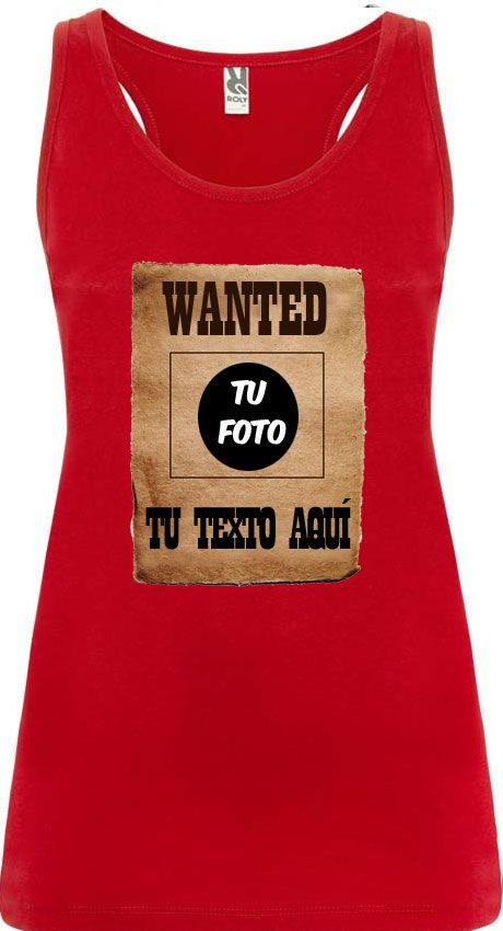 Camisetas despedida mujer de tirantes de despedida diseño wanted 100% algodón con impresión vista 1