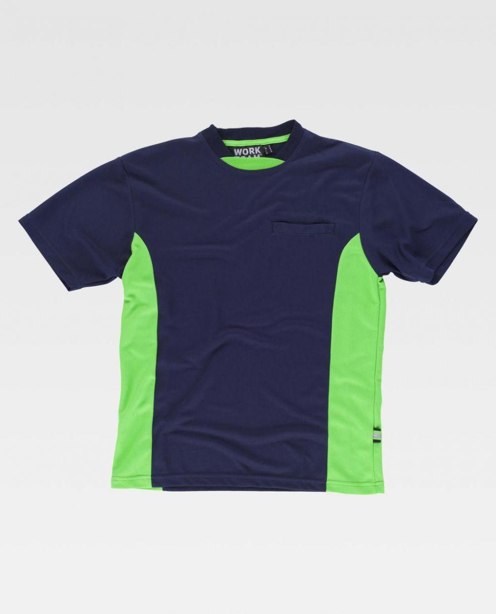 Camisetas reflectante workteam con detales fluorescentes reflectantes de poliéster con impresión vista 1