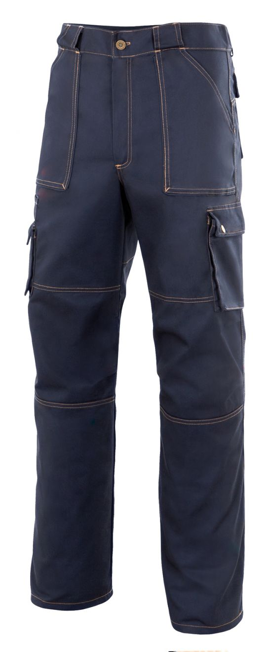 Pantalones de trabajo velilla multibolsillos de algodon con logo vista 1