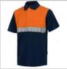 Polos reflectantes workteam combinado mc pique algodon con cinta reflectante de 100% algodón naranja fluor azul marino vista 1